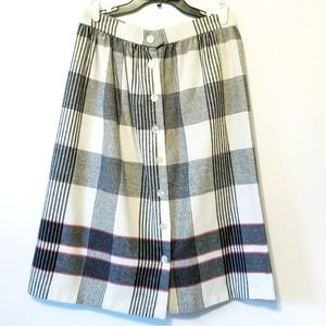 VTG Plaid Button front Wool Skirt